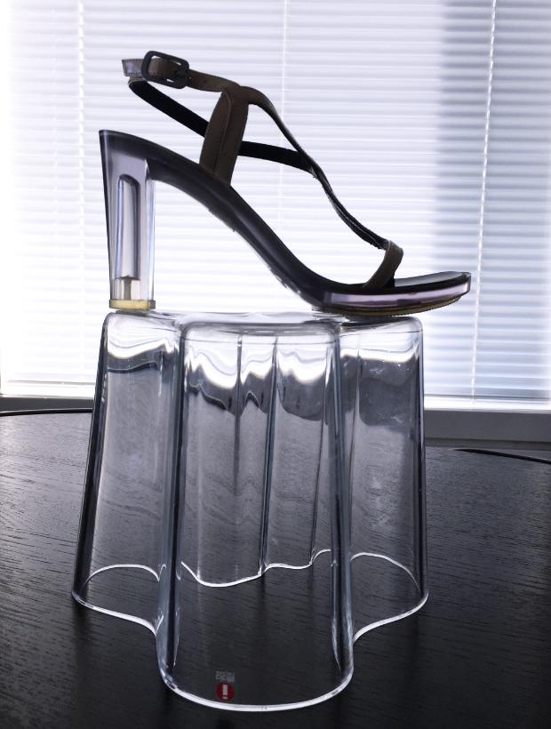Lucite heel sandals.
